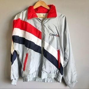 Vintage Canadian zip up soft shell jacket with hood size M